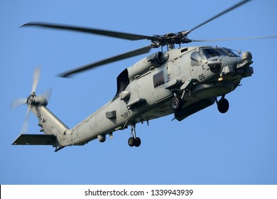 Kanagawa, Japan - July 15, 2014:United States Navy Sikorsky MH-60R Seahawk utility maritime helicopter from HSM-51 'Warlords'.