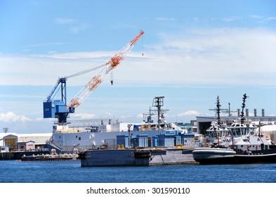 Kanagawa, JAPAN - July 15, 2015; A photo of a Japan Maritime Self-Defense Force submarines in Yokosuka port. Yokosuka Port is naval port. Many of the JMSDF and the US Navy of ships is at anchor.