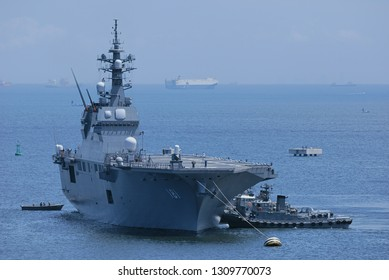 Kanagawa, Japan - July 17, 2010:Japan Maritime Self-Defense Force JS Hyūga (DDH-181), Hyūga-class helicopter destroyer