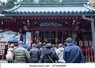 Kanagawa, Japan - March 23, 2019: View of people pray for blessing at Hakone Shrine nearby Lake Ashi, Kanagawa, Japan.