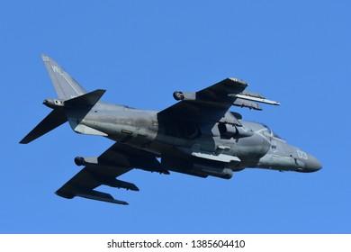 Kanagawa, Japan - May 04, 2017:United States Marines Boeing AV-8B Harrier II from VMA-311 'Tomcats'.