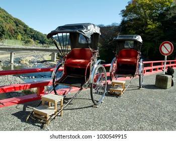 KANAGAWA, JAPAN, NOV 25, 2017: Old style of Rickshaw or Jinrikisha service for tourist in old town of Hakone, Japan