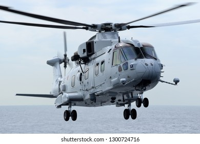 Kanagawa, Japan - October 15, 2015:Japan Maritime Self-Defense Force AgustaWestland / Kawasaki MCH-101 airborne mine countermeasures and transport helicopter.
