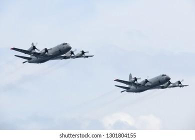 Kanagawa, Japan - October 15, 2015:Japan Maritime Self-Defense Force Lockheed Martin P-3C Orion anti-submarine and maritime surveillance aircraft.