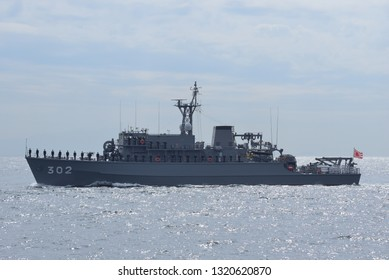Kanagawa, Japan - October 15, 2015:Japan Maritime Self-Defense Force JS Tsushima (MSO-302), Yaeyama-class minesweeper.