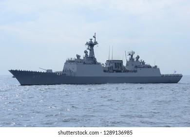 Kanagawa, Japan - October 15, 2015:Republic of Korea Navy ROKS Dae Joyeong (DDH-977), Chungmugong Yi Sun-sin class destroyer.