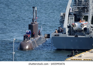 Kanagawa, Japan - September 18, 2013:Republic of Korea Navy ROKS Yi Chon (SS-062), Jang Bogo-class submarine.