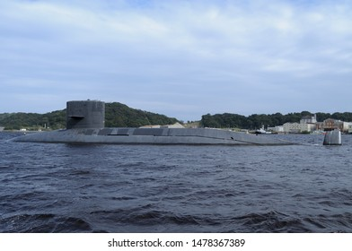Kanagawa, Japan - September 23, 2013:Japan Maritime Self-Defense Force Harushio-class submarine (Decommissioned).