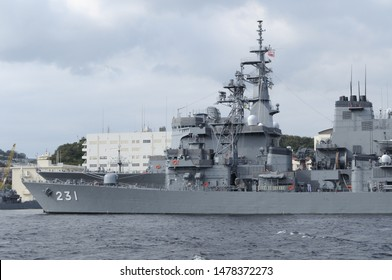Kanagawa, Japan - September 23, 2013:Japan Maritime Self-Defense Force JS Oyodo (DE-231), Abukuma-class destroyer escort.