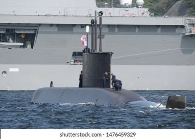 Kanagawa, Japan - September 23, 2013:Republic of Korea Navy ROKS Yi Chon (SS-062), Jang Bogo-class submarine.