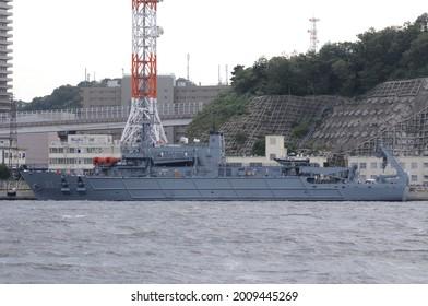Kanagawa, Japan - September 23, 2013:Republic of Korea Navy ROKS Cheonghaejin (ASR-21), Cheonghaejin-class submarine rescue ship.