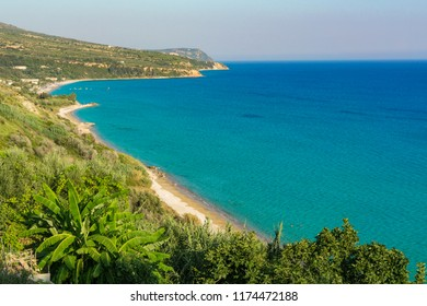 Kanali beach near Lourdata village in Kefalonia Greece. A long, beautiful, quiet and secluded beach with turquoise sea waters
