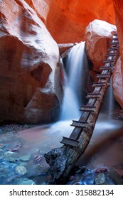 Kanarra Waterfall and stairs in a slot canyon.  Zion national park, Utah
