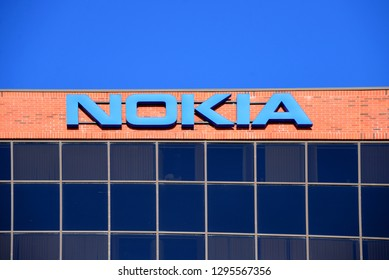 Kanata, Canada - Jan 26, 2019:  Nokia building on March Rd outside Ottawa.  The Canadian Government recently pledged $40 million for Finnish telecom giant Nokia to conduct research on 5G technology