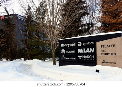 Kanata, Canada - Jan 26, 2019:  Industrial Park featuring Huawei Ottawa Research & Development Centre. The Chinese multinational telecommunications company has significant investment in Canada