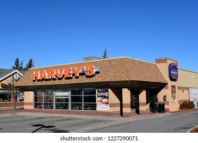 Kanata, Canada - Nov 4, 2018:  Harvey's in Kanata, a suburb of Ottawa.  It's a popular Canadian fast food restaurant, known best for its hamburgers was founded in 1959 and operates in all provinces