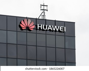 Kanata, On, Canada - August 9, 2020: Huawei sign on the building at Ottawa Research and Development Centre in Kanata. Huawei Technologies Co., Ltd. is a Chinese multinational technology company