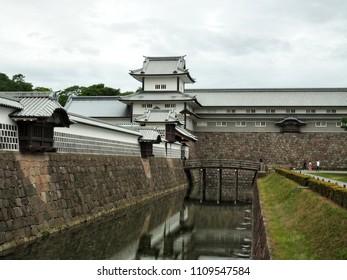 Kanazawa castle near Kenroku-en garden in Kanazawa, Ishikawa Prefecture, Japan, Asia