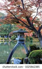 Kanazawa, japan. 11 17 2017. Japanese lantern at Kenroku en garden, in Kanazawa  Japan