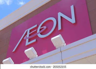 KANAZAWA JAPAN - 14 JUNE, 2014:AEON Retail store company logo. AEON is the largest retailer in Asia ranging from convenience stores, supermarkets, shopping malls and speciality stores.