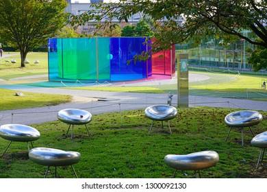 KANAZAWA, JAPAN -22 OCT 2018- View of the landmark 21st Century Museum of Contemporary Art, Kanazawa, a museum of contemporary art located in Kanazawa, Ishikawa, Japan.