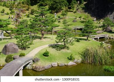 KANAZAWA, JAPAN -22 OCT 2018- View of the Kenroku-en gardens near Kanazawa Castle (Kanazawa-jo),  a landmark  located in Kanazawa, Ishikawa, Japan.