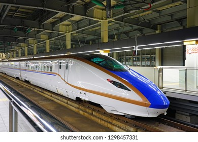 KANAZAWA, JAPAN -24 OCT 2018- View of a high-speed bullet Shinkansen at the Kanazawa Station (Kanazawa-eki) in Kanazawa, Ishikawa, Japan, operated by West Japan Railway Company (JR West).