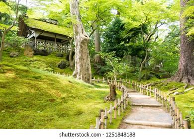 Kanazawa, Japan 28 Jul, 2017- Kenrokuen Garden in Kanazawa, Ishikawa, Japan. Kenroku-en is one of the Three Great Gardens of Japan, a famous historic site.