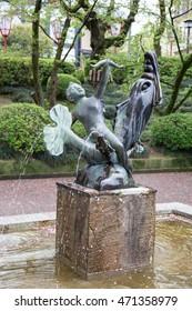 KANAZAWA, JAPAN - APRIL 17 : Fountain sculpture in front of Kenrokuen garden on April 17, 2017 Kanazawa, Japan. The Kenrokuen garden is famous for tourists around the world.