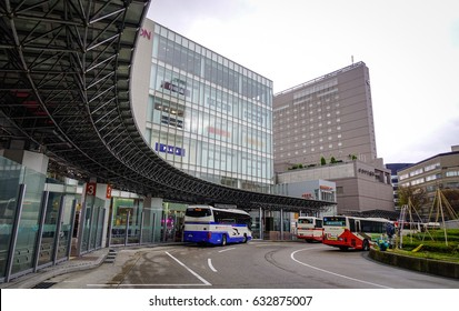 Kanazawa, Japan - Dec 1, 2016. View of the bus flatform at the Central Station in Kanazawa, Japan. Kanazawa Station is one of the world most beautiful train stations.