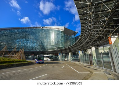 Kanazawa, Japan - Dec 2, 2016. View of JR Station in Kanazawa, Japan. Station has a glass dome called Motenashi (Welcome) Dome, which looks like a huge umbrella.