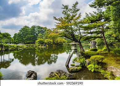 KANAZAWA, JAPAN - JUL 31 2016: Kenroku-en located in Kanazawa, Ishikawa, Japan, is an old private garden. Along with Kairaku-en and Koraku-en, Kenroku-en is one of the Three Great Gardens of Japan.