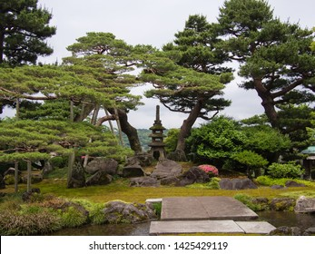 KANAZAWA, JAPAN - JUNE 9: An area known as the Seven Fortune Gods Hill in Kenroku-en or the Six Attributes Garden on June 9, 2019 in Kanazawa. Each stone represents one of the seven gods.