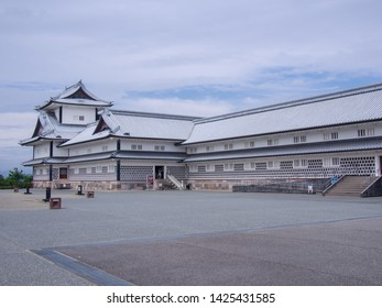 KANAZAWA, JAPAN - JUNE 9: The Kanazawa Castle on June 9, 2019 in Kanazawa. This partially-restored castle is located adjacent to the Kenroku-en Garden.
