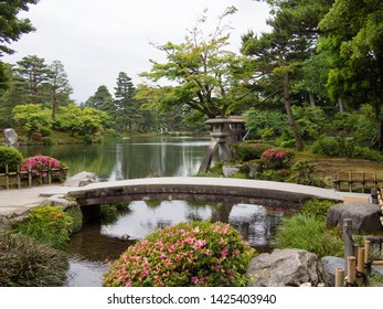 KANAZAWA, JAPAN - JUNE 9: A Japanese garden in Kenroku-en or the Six Attributes Garden on June 9, 2019 in Kanazawa. Kenroku-en contains over 180 species of plants and over 8000 trees.