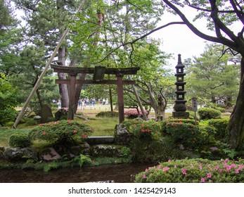 KANAZAWA, JAPAN - JUNE 9: Sekirei-jima, aka Wagtail Island, in Kenroku-en or the Six Attributes Garden on June 9, 2019 in Kanazawa.
