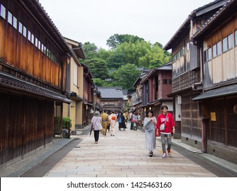 KANAZAWA, JAPAN - JUNE 9: A street known as Higashi Chayagai or Higashi Teahouse Street on June 9, 2019 in Kanazawa. This street is lined with shops and teahouses that sell tea products.