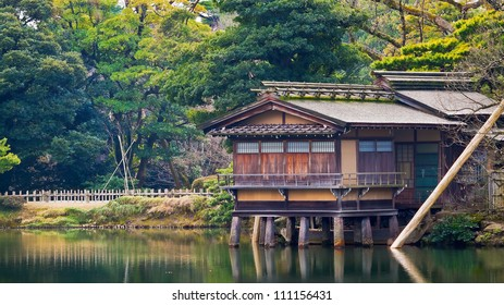 KANAZAWA, JAPAN - MARCH 28: Uchihashi-tei one of the four tea houses in Kenrokuen. Supported by stone pillars but looks as if it floats on the Kasumiga-ike Pond on March 28, 2012 in Kanazawa, Japan.