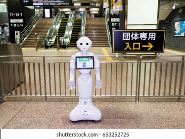 Kanazawa, Japan - May 12, 2017 : Softbank's Pepper Robot at Kanazawa JR Station. It is a humanoid robot named Pepper, which is claimed can identify human emotions and respond to them. Pepper - AI.
