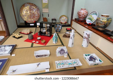 KANAZAWA JAPAN - NOVEMBER 04, 2018: Kutaniyaki Japanese traditional porcelain ware display at Kutani porcelain ware shop in Ishikawa Japan.