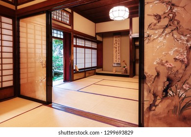 Kanazawa, Japan - November 15, 2018: Tea room with painted screen doors in Nomura Samurai House in Kanazawa. This house is the only samurai house open to the public in Nagamachi district.