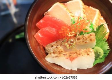 Kanazawa Kaisendon sushi rice bowl with gold leaf flake decoration