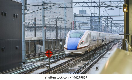 Kanazawa- March 31 : The Hokuriku Shinkansen bullet train network of high-speed railway lines in Japan on March 31, 2015 in Kanazawa Japan