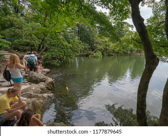 Kanazawa/Japan - August 10 2018: Kenroku-en gardens, Kanazawa, Japan. Kenroku-en, is an old private garden. It is one of the Three Great Gardens of Japan.