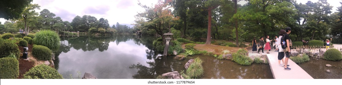 Kanazawa/Japan - August 10 2018: Panorama of Kenroku-en gardens, Kanazawa, Japan. Kenroku-en, is an old private garden. It is one of the Three Great Gardens of Japan.