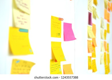 Kanban board is mostly used by agile working software development companies. The task are written on colorful stickers and pasted on the board. The picture is taken in Istanbul,Turkey on 26/11/2018