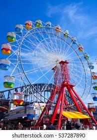 KANCHANA, SYDNEY, AUSTRALIA - NOVEMBER 29, 2014: Photo of Ferry wheels at Luna Park