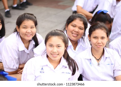 Kanchanaburi city/Thailand-December 2017: Asian students in their school, Thai secondary students in the school with their friends