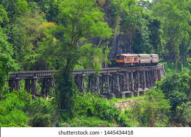 Kanchanaburi Province, Locomotive, Steam Train, Thailand, Train - Vehicle,Thailand, Kanchanaburi Province, Rail Transportation, Diesel Fuel, Train - Vehicle
