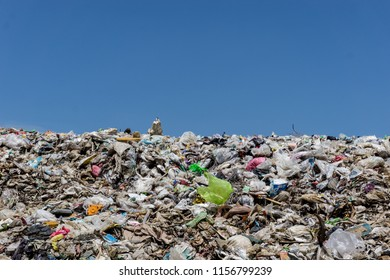KANCHANABURI PROVINCE, THAILAND. JUNE 18 2018. Waste from household in waste landfill. Waste disposal in dumping site in THAILAND